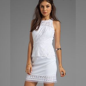 Milly // Laser Cut Mia Peplum Dress in White